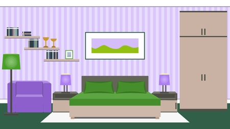 Bedroom interior with furniture - bed, bedside tables, wardrobe, armchair in green and violet colors.