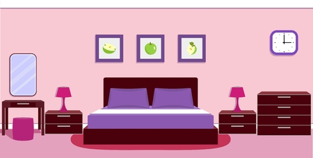 bedside lamp: Bedroom interior with furniture - bed, bedside lamp, mirror, table, ottoman, chest of drawers and clock in violet colors.