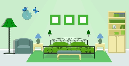 bedside: Bedroom interior with furniture - bed, bedside tables, floor lamps, bench, armchair, clock, bookcase in green colors.