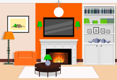 cozy: Interior of cozy living room with fireplace in the orange colors.