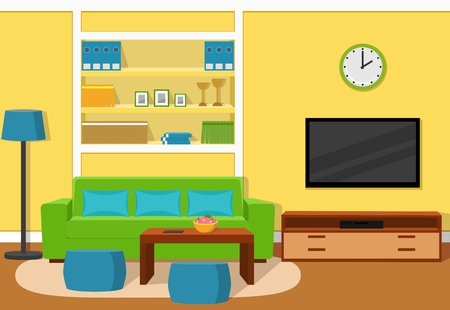room accents: The interior of cozy living room with green sofa, turquoise accents and yellow wallpaper.