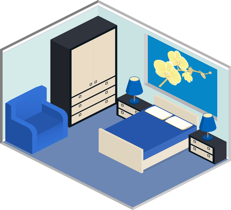 cozy: Modern design of cozy bedroom with furniture. Interior in isometric style in blue colors. Illustration