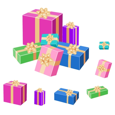 rejoice: Set of colorful wrapped gift boxes with bows and gold ribbons. Vector 3D illustration isolated on white background.