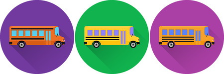 yellow schoolbus: Set of flat icons school buses with long shadow on colorful backgrounds. Vector illustration.