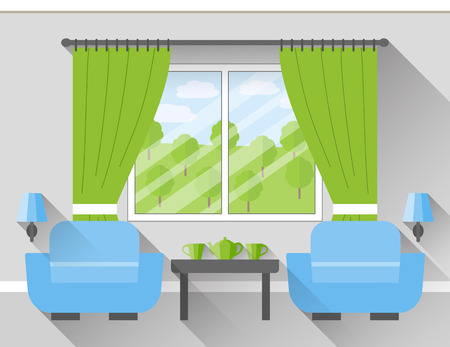 Interior of living room with window and two armchairs. Vector illustration in flat design with long shadows.