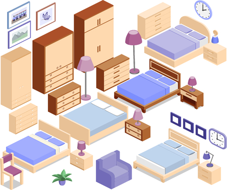 flower room: Set icons of furniture in isometric style. The collection includes beds, bedside tables, lamps, wardrobes, armchair, chair, clock, and picture. Vector 3D illustration.