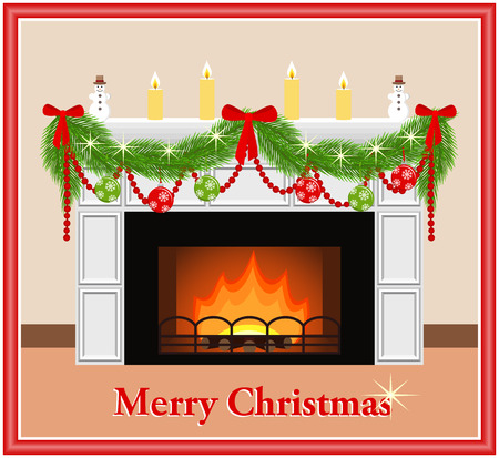 mantelpiece: Merry Christmas. Festive fireplace with red and green balls, candles, bows and fir branches in flat style. Vector illustration.