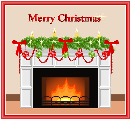 mantelpiece: Merry Christmas - greeting card. Festive fireplace with red and green toys, candles, bows and fir branches in flat style. Vector illustration.
