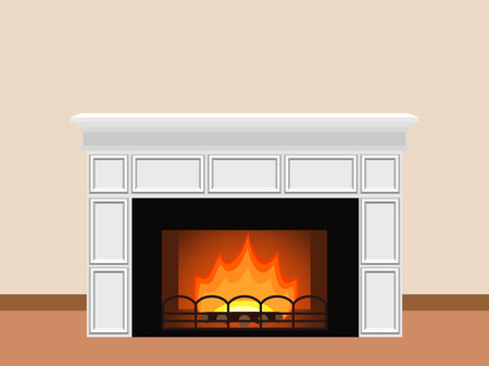 firewood: White fireplace with fire and firewood. Elements of home design. Vector illustration.