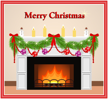 mantelpiece: Merry Christmas greeting card with fireplace red and violet balls, candles, bows and branches of Christmas tree in flat style. Vector illustration. Illustration