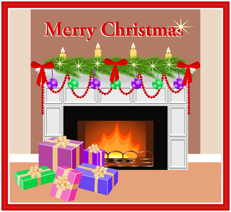 Merry Christmas greeting card with decorated festive fireplace, fir branches and colorful gift boxes in flat style. Vector illustration. Illustration