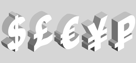 Isometric set of currency symbols of the world - dollar, pound sterling, euro, yen, ruble on gray background. Vector 3d illustration.