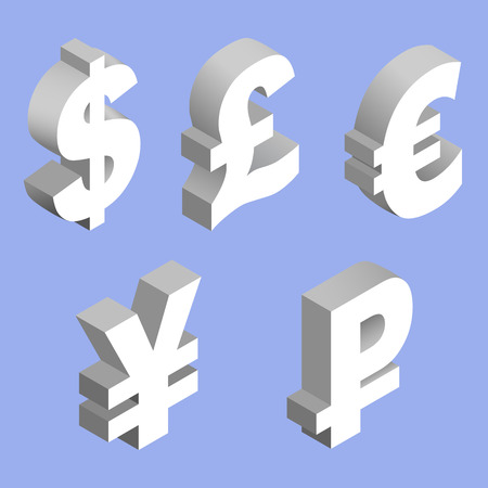 Isometric set of currency symbols of the world - dollar, pound sterling, euro, yen, ruble on blue background. Vector 3d illustration.