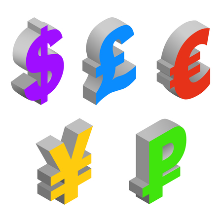 Isometric set icons of currency symbols of the world - dollar, pound sterling, euro, yen, ruble on white background. Vector 3d illustration. Illustration
