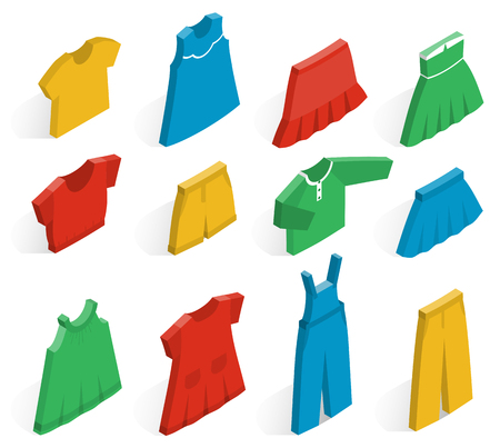 Isometric icon set childrens clothes for girls on white background with shadows. Collection of clothing. Vector 3d illustration.