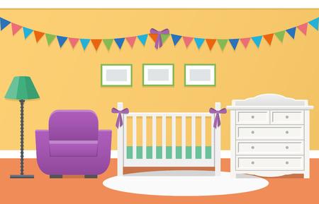 Diseño Retro Del Cuarto De Niños. Habitación Del Bebé Interior Con ...