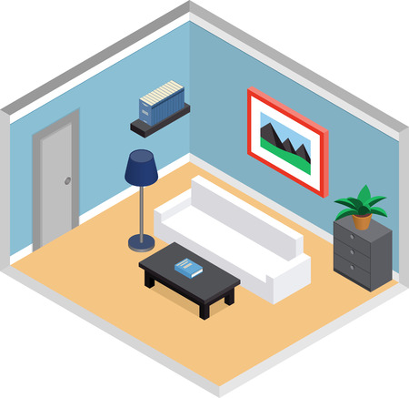 modern living room design: Modern living room design with furniture and door. Interior in isometric style. Vector 3D illustration.