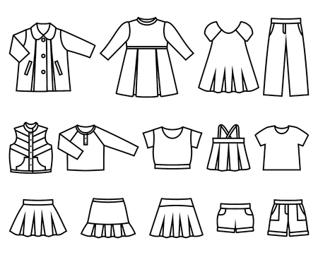 habiliment: Set of line icons childrens clothes for girls. Collection of clothing on white background. Vector illustration.