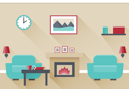 mantelpiece: Interior of living room with fireplace and two armchairs. Vector illustration in flat design with long shadows. Illustration