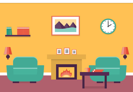 mantelpiece: Interior of living room with fireplace and two armchairs in flat design. Vector illustration.