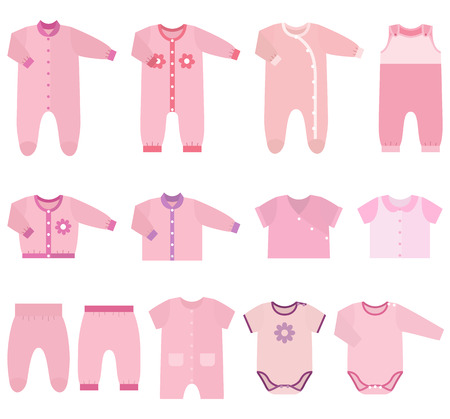 overall: Set childrens clothes for baby girls in flat style. Collection of isolated clothing on white background. Vector illustration. Illustration