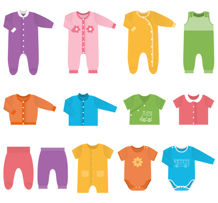 Set icons childrens clothes for baby boys and girls in flat style. Collection of colorful clothing on white background. Isolated objects. Vector illustration.