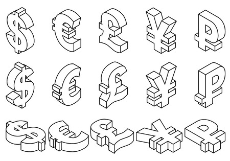 Isometric set black line icons of currency symbols of the world - dollar, pound sterling, euro, yen, ruble on white background. Vector 3d illustration.