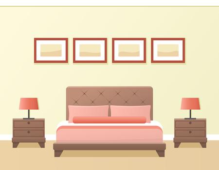 hotel bedroom: Hotel room or bedroom interior in flat style. Vector illustration. Illustration