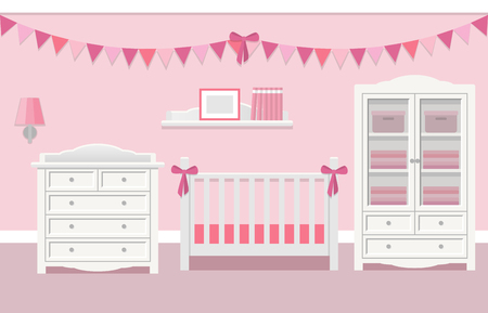 Baby room interior for girl with white furniture in flat style. Modern pink nursery design. Vector illustration.