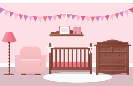 Espace bébé intérieur avec lit blanc et table à langer pour fille dans le style plat. Design moderne de pépinière rose. Vector illustration.