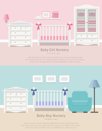 Kinderzimmer Mit Weißen Möbeln. Baby-rosa Streifen Innenraum ...