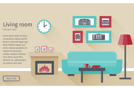 Banner of living room interior including fireplace and couch in flat design with long shadows. Background. Vector illustration.