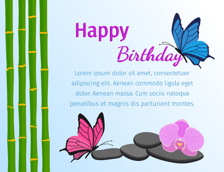 Happy birthday greeting card with butterflies and bamboo stems in flat style. Flowers design background. Vector illustration.