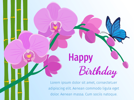 Branch of pink orchids, bamboo stems and butterfly in flat style. Happy birthday greeting card. Flowers design background. Vector illustration. Illustration