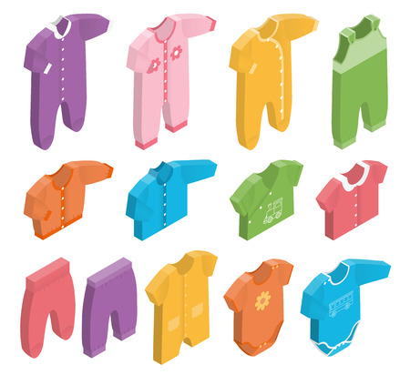 Isometric icon set childrens clothes for newborn baby girl or boy on white background. Overalls, shirt, rompers, pants and babys loose jacket. Collection of clothing. Vector 3d illustration.