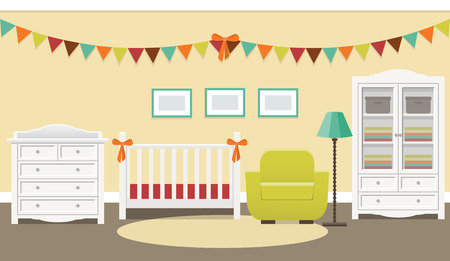 Retro nursery design. Baby room interior with white furniture for newborn in flat style. Vector illustration.