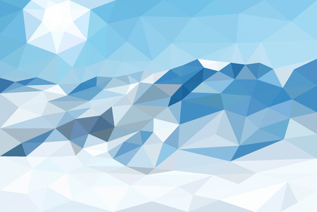 graphic texture: Polygonal landscape winter background. Snow and mountains. Low poly design vector illustration. Abstract pattern.