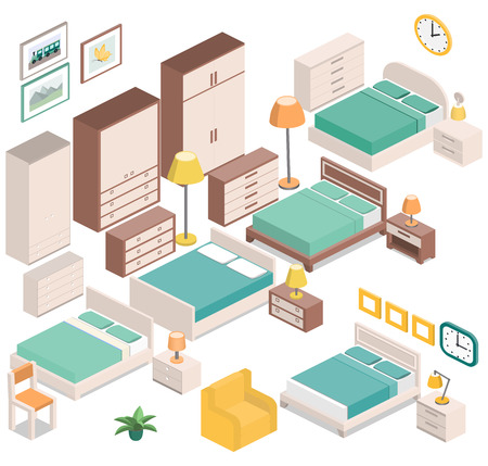 chest of drawers: Furniture for bedroom in isometric style - bedside tables, lamps, wardrobes, armchair, chair, clock, and picture. Set house equipment. Hotel room design. Vector 3D illustration.