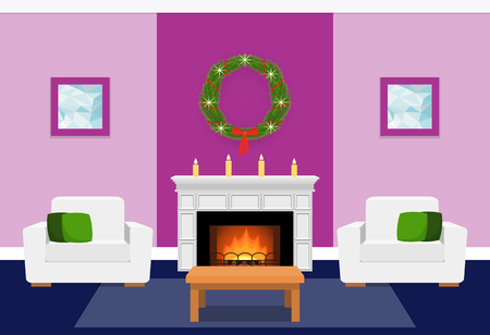 Living Room Interior With Fir-tree On Fireplace. Christmas Design ...