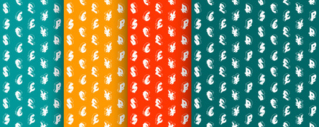 Seamless patterns with currency symbols. Design with isometric line icons. Background. Vector illustration.