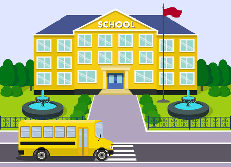 schoolhouse: Flat schoolhouse. School building with yellow bus and fountains over landscape background. Vector illustration.