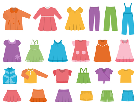 raglan: Baby clothes for girls.  Vector set clothing on white background including dresess, skirts, shorts, pants, tops and t-shirt. Colorful illustration.