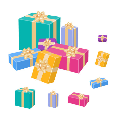 Wrapped gift boxes with bows and gold ribbons. Vector 3D illustration isolated on white background.