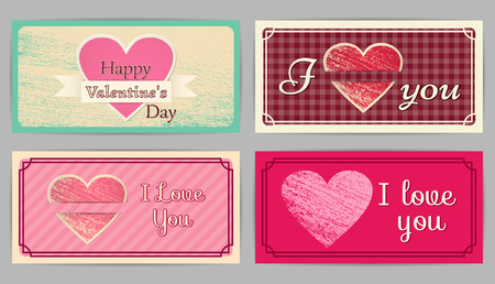 country style: Valentines Day, wedding retro cards. Vintage design backgrounds. Country style. Vector graphic.
