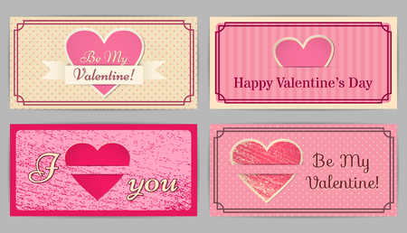 country style: Valentine cards. Retro, vintage design backgrounds stripes, scratched and in the circle. Country style. Vector graphic. Illustration