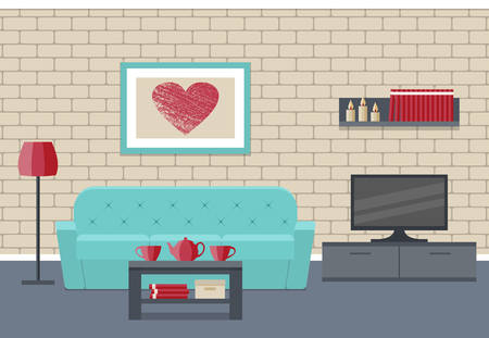 Living room Interior. Flat vector background. Home design lounge with furniture couch, coffee table, TV, picture and brick wall.