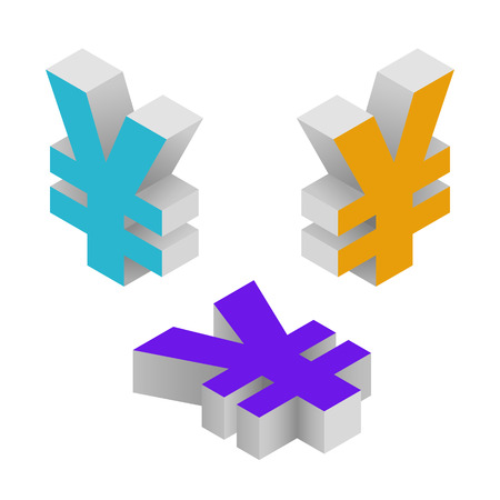 on top of the world: Symbol yen currency. Isometric icons on white background. Vector 3d illustration.