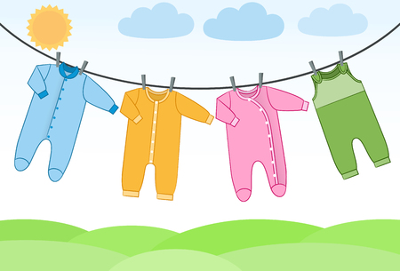 Baby bodysuits, rompers and overalls on clothesline. Infant clothes. Garments for kids. Vector flat isolated clothing on landscape background.