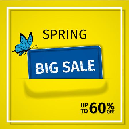 Sale banner. Spring discount label up to 60% off. Vector background. Template design. Ilustração