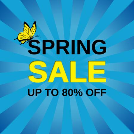 Sale banner. Vector. Spring discount label. Template design background. Ilustração